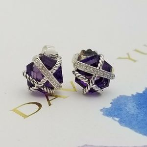 David Yurman Amethyst Wrap Diamond Stud Earrings